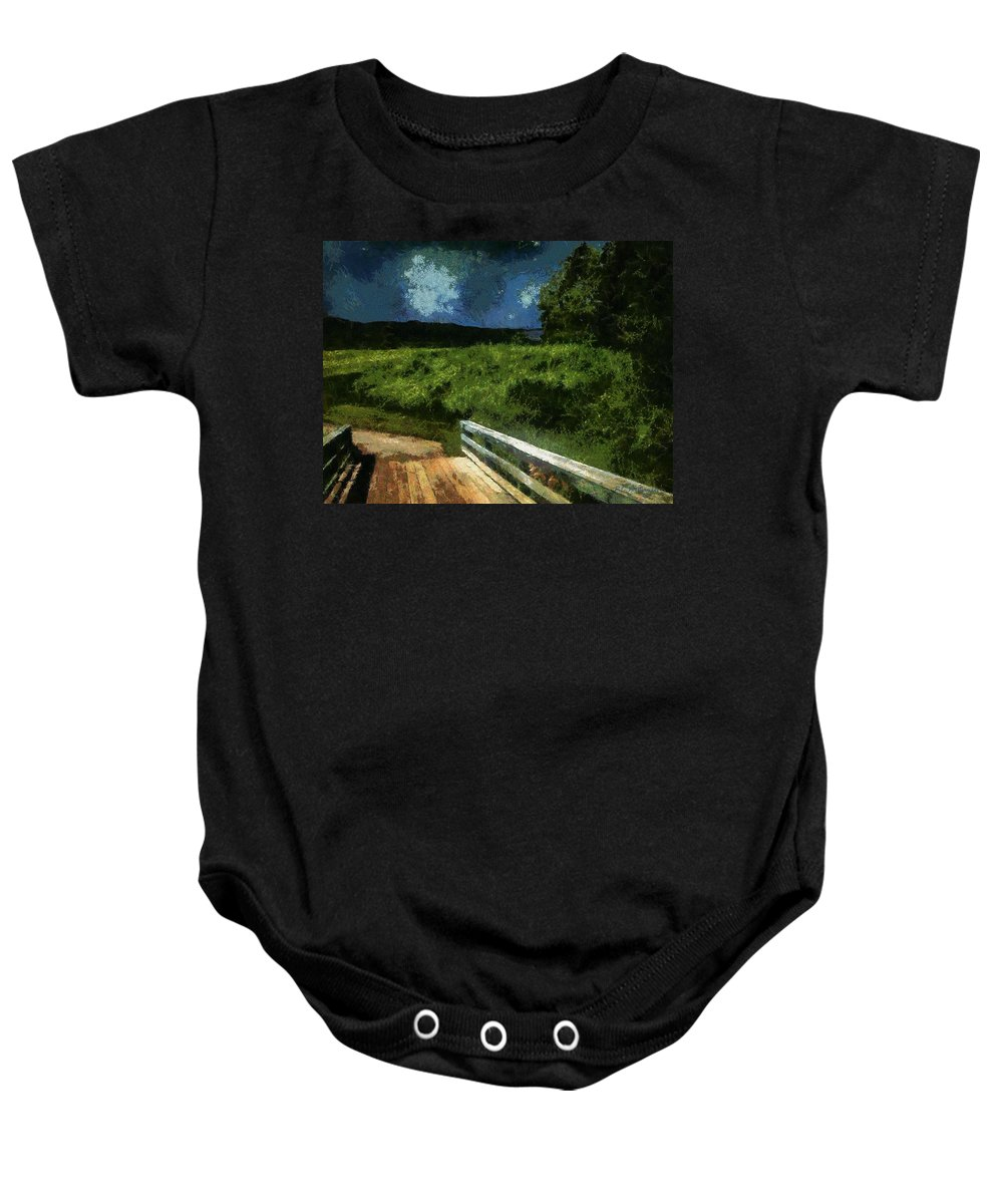 Bridge Baby Onesie featuring the painting View Of The Night Sky From The Old Bridge by RC DeWinter