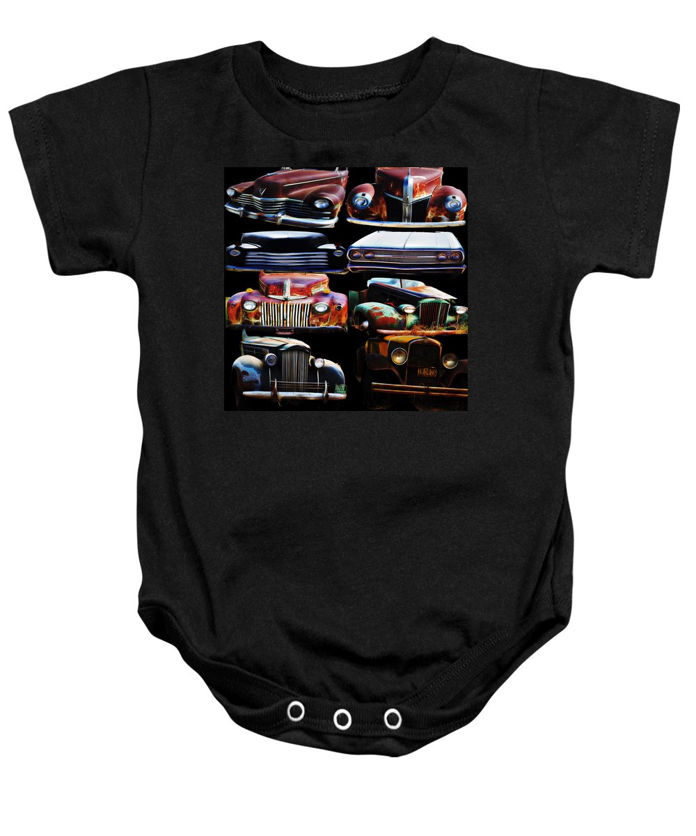 Baby Onesie featuring the digital art Vintage Cars Collage 2 by Cathy Anderson