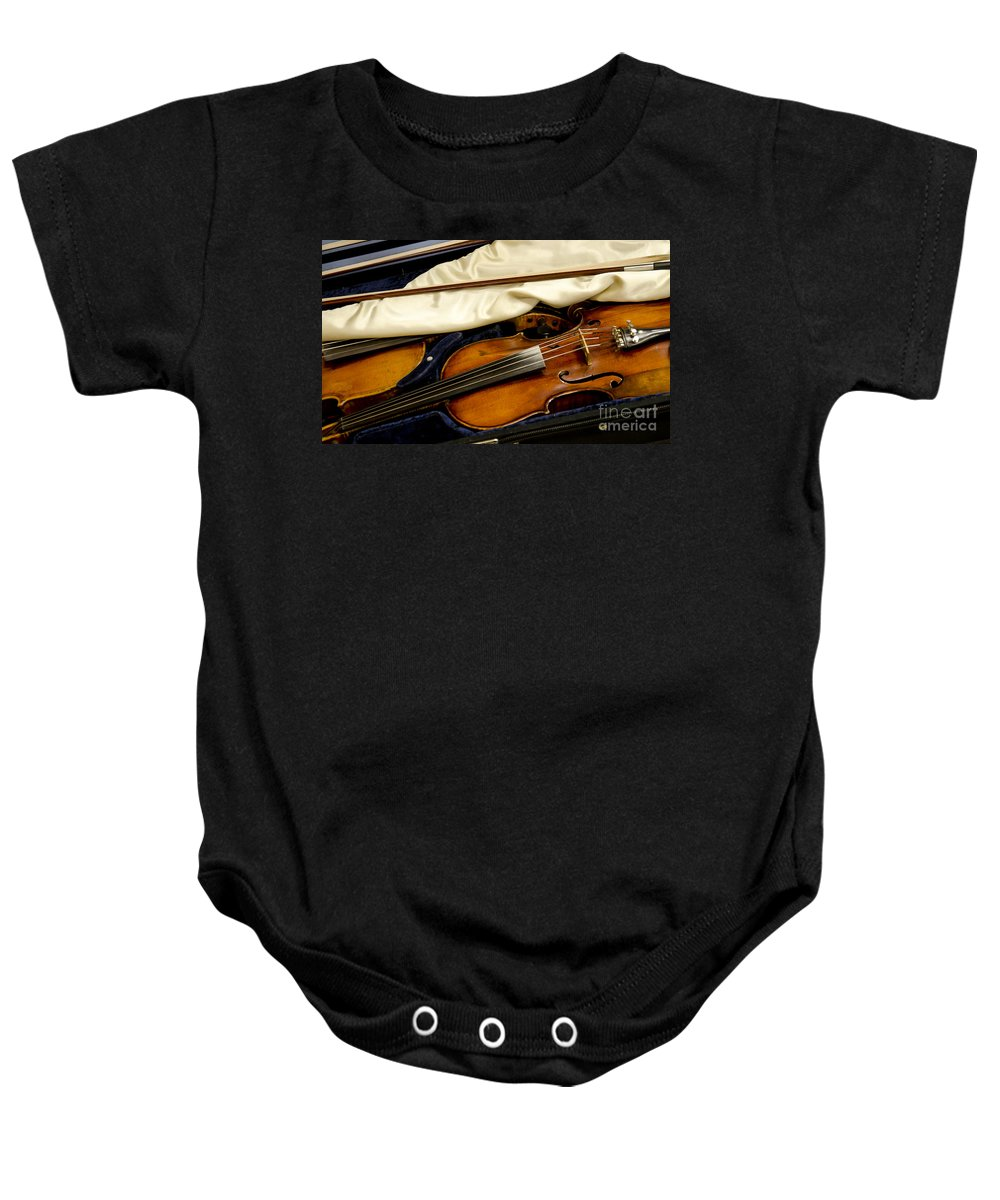 Fiddle Baby Onesie featuring the photograph Vintage Fiddle In The Case by Wilma Birdwell