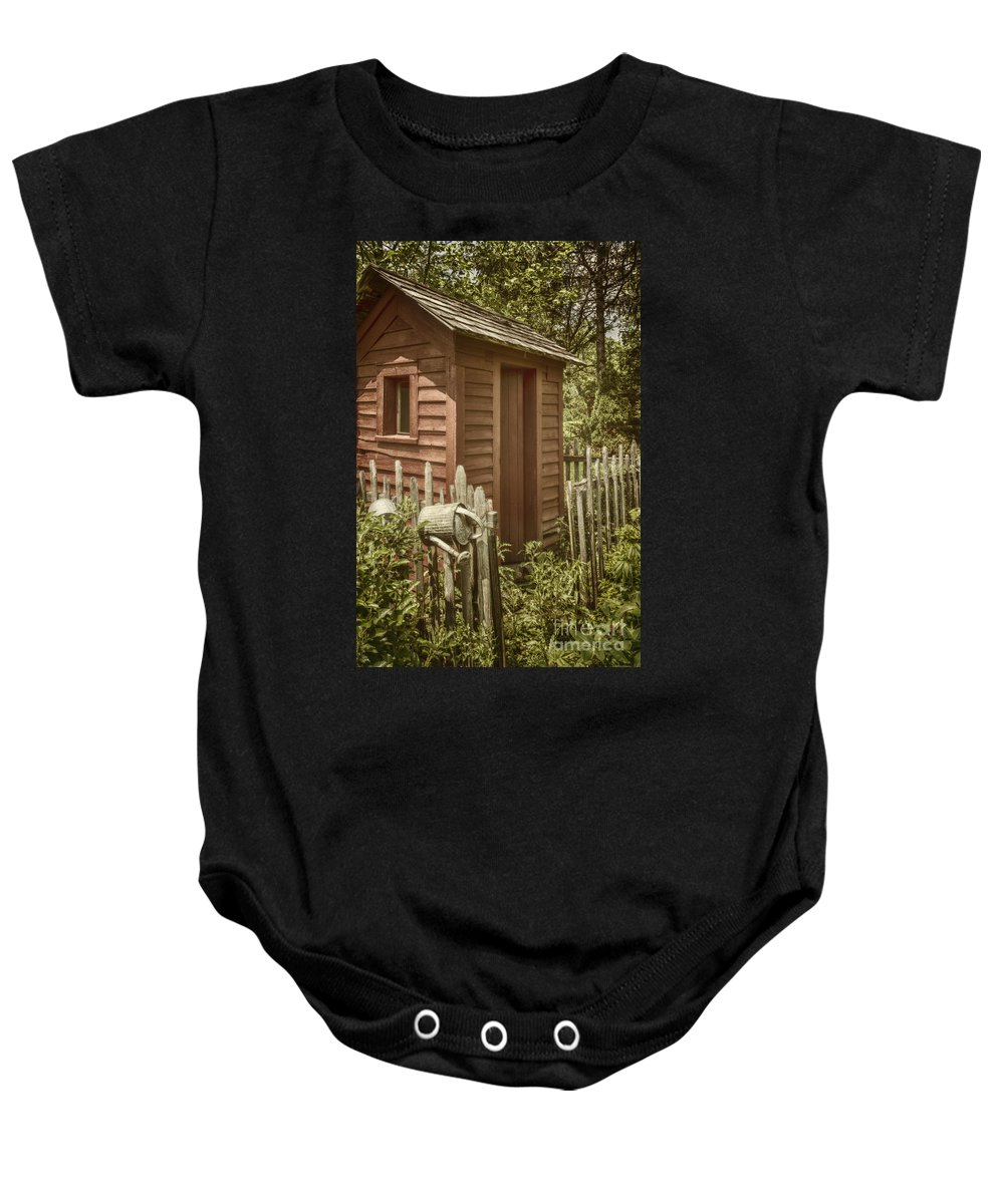 Shed Baby Onesie featuring the photograph Vintage Garden by Margie Hurwich