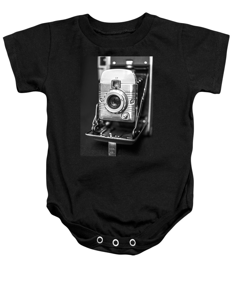 Vintage Baby Onesie featuring the photograph Vintage Polaroid Land Camera Model 80a by Jon Woodhams