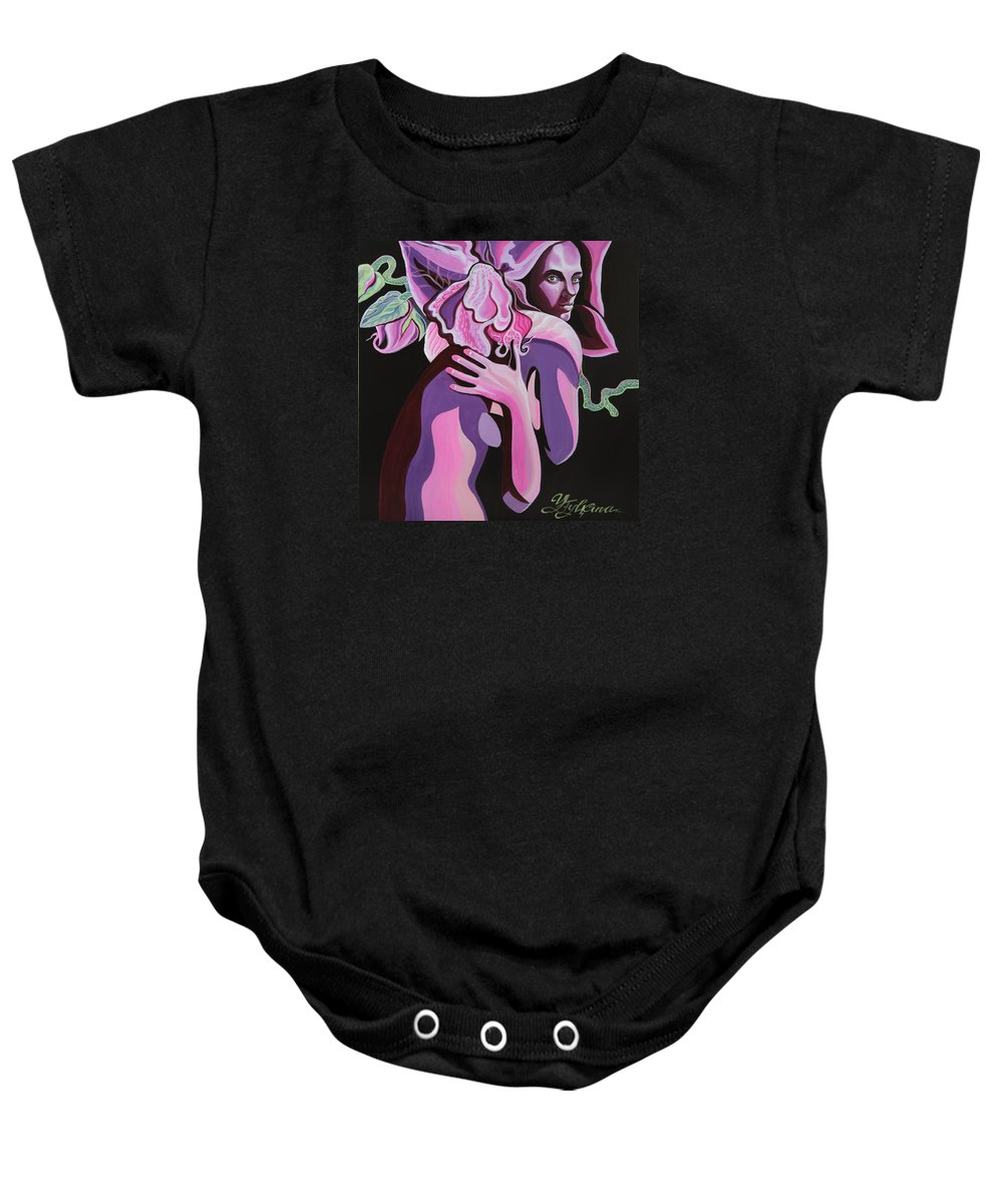 Fantasy Baby Onesie featuring the painting Violet by Yelena Tylkina
