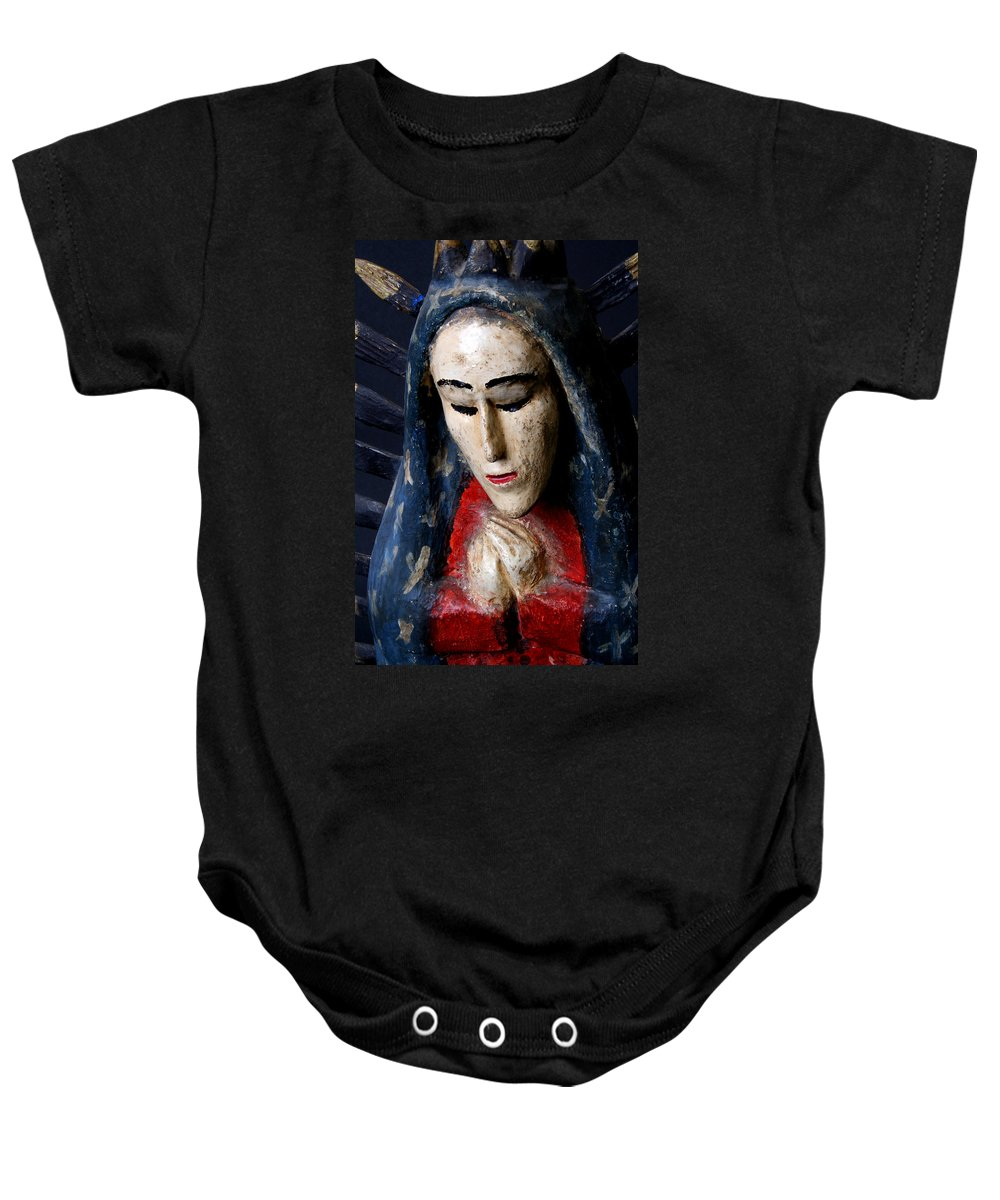 Virgin Of Guadalupe Baby Onesie featuring the photograph Virgin Of Guadalupe by Joe Kozlowski