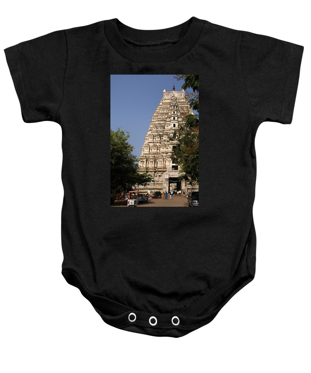 Hampi Baby Onesie featuring the digital art Virupaksha Temple In Hampi by Carol Ailles