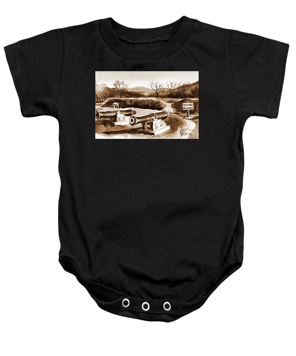 Visitors Welcome In Sepia Baby Onesie featuring the painting Visitors Welcome In Sepia by Kip DeVore