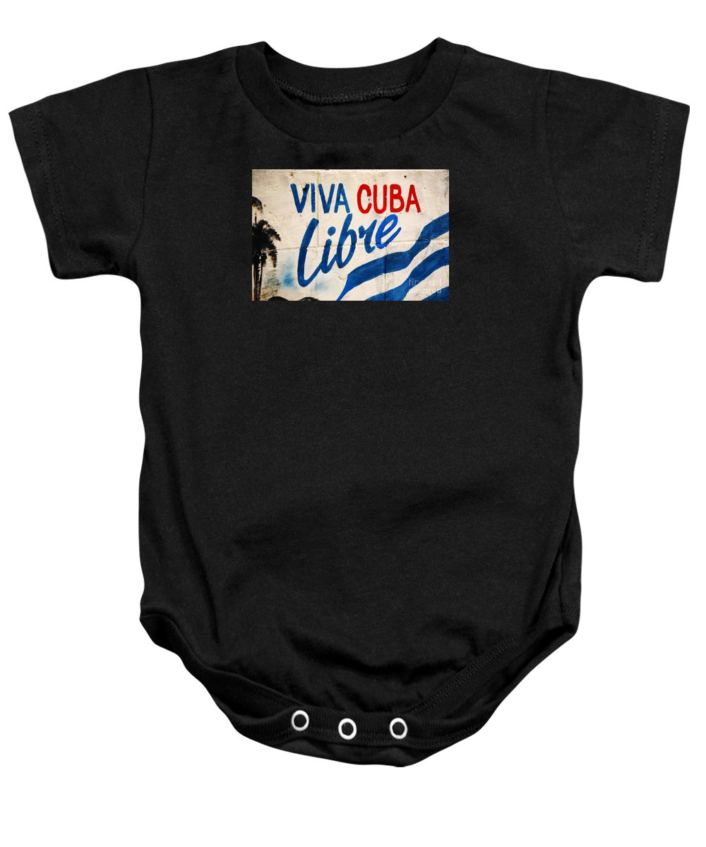 Art Baby Onesie featuring the photograph Viva Cuba Libre Sign by Deborah Benbrook
