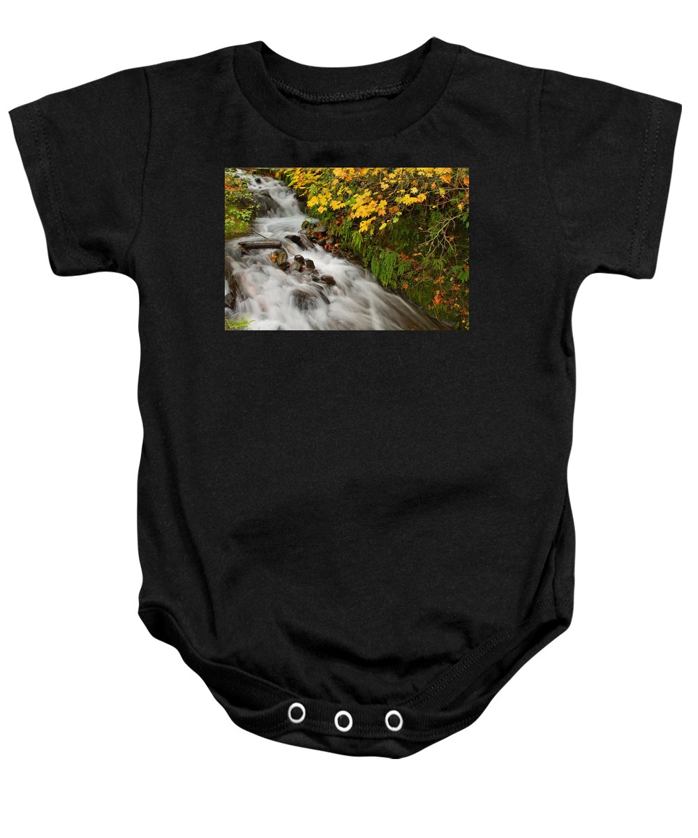 Wahkeena Baby Onesie featuring the photograph Wahkeena Falls At Columbia River Gorge In The Fall by Jit Lim