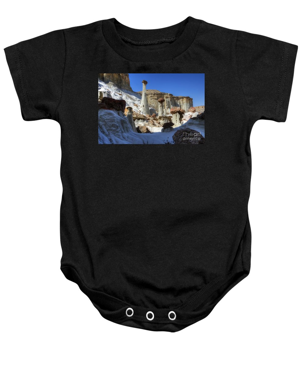 Tower Of Silence Baby Onesie featuring the photograph Wahweap Hoodoos Utah by Bob Christopher