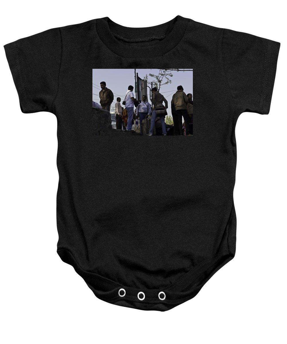 Bag Baby Onesie featuring the photograph Waiting At The Top Of The Steps Next To The Dal Lake In Srinagar by Ashish Agarwal