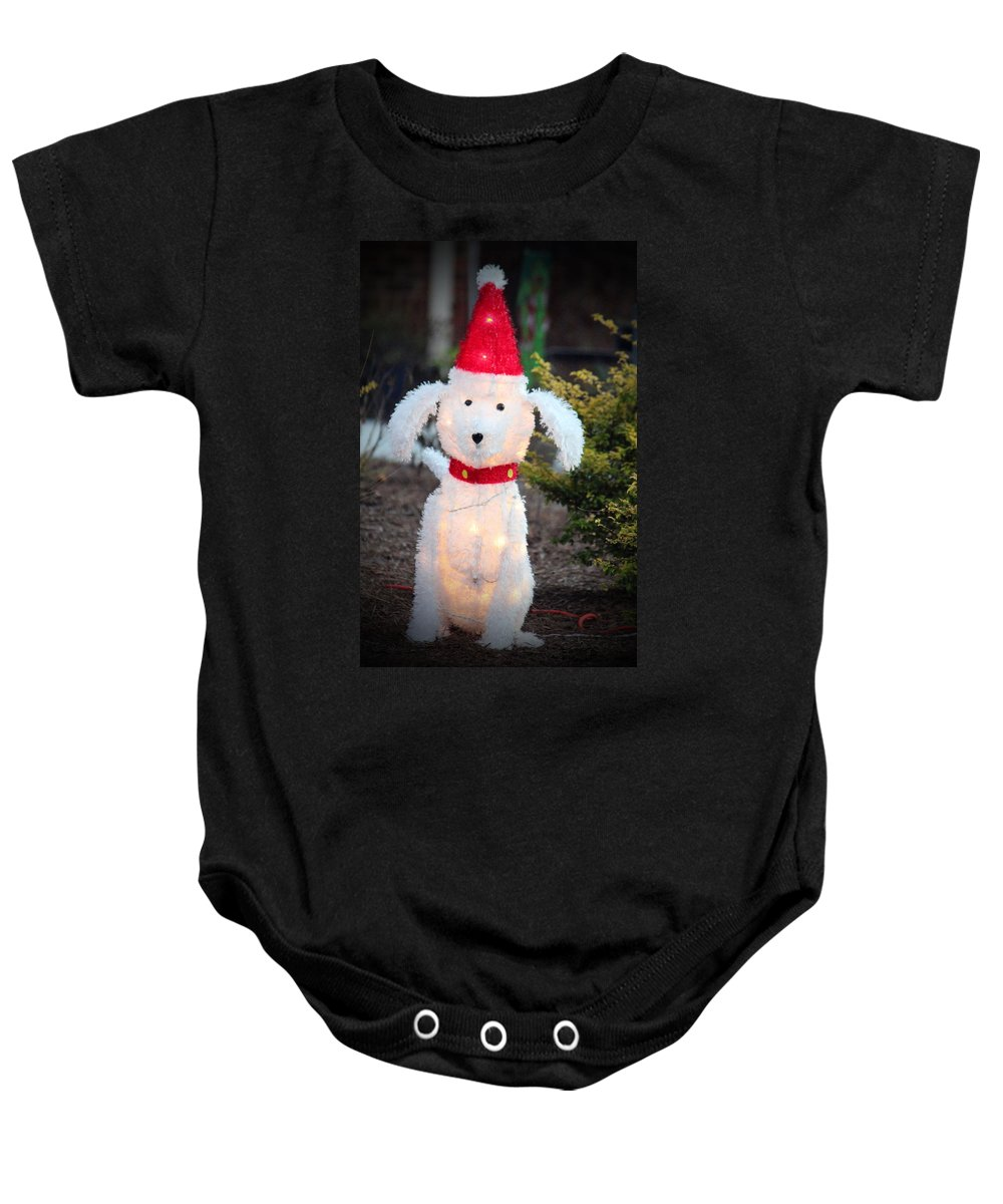 Dog Baby Onesie featuring the photograph Waiting For Santa by Cynthia Guinn