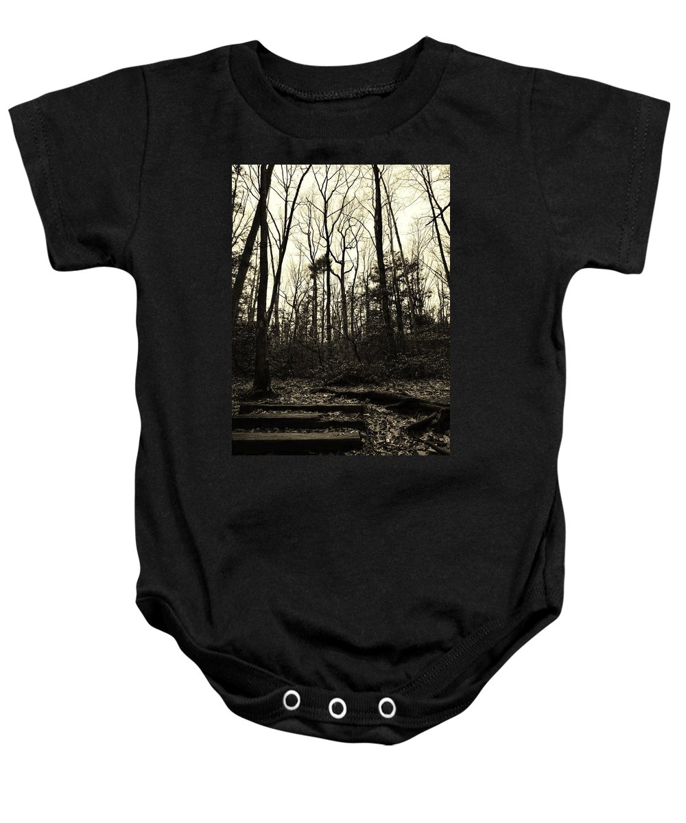 Sepia Baby Onesie featuring the photograph Walk Into Nature by Michele Nelson