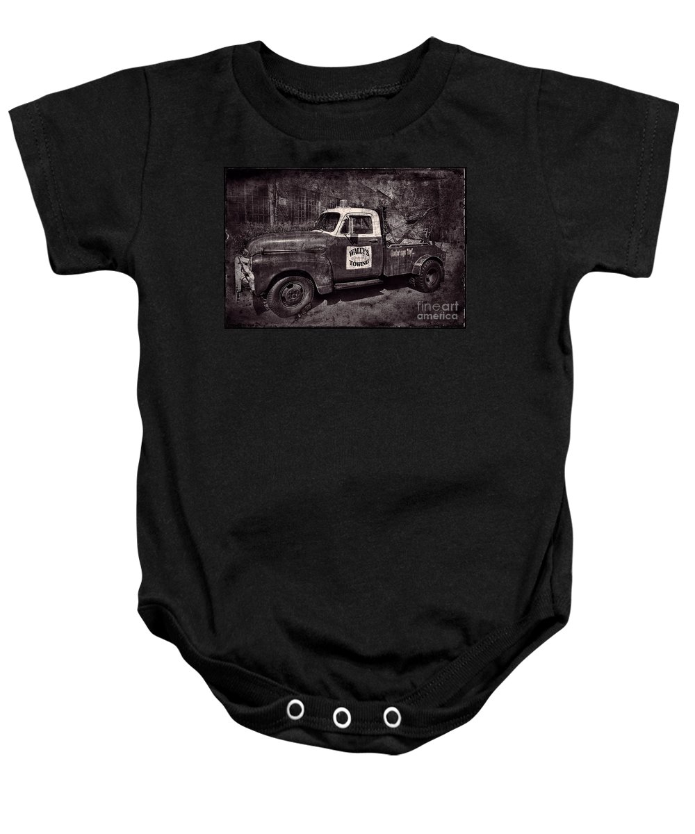 Wally's Towing Baby Onesie featuring the photograph Wally's Towing Bw by David Arment