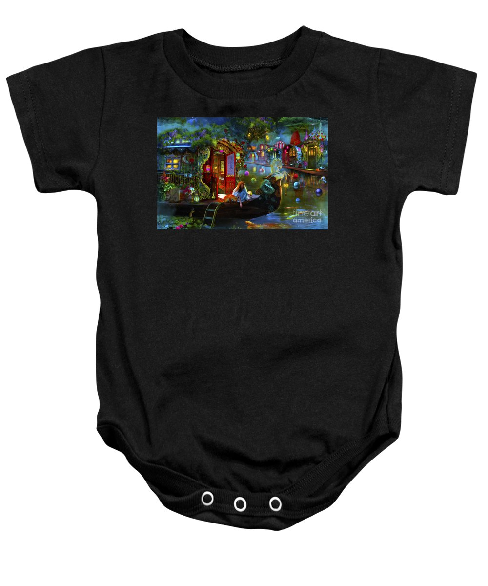 Fantasy Baby Onesie featuring the digital art Wanderer's Cove by MGL Meiklejohn Graphics Licensing
