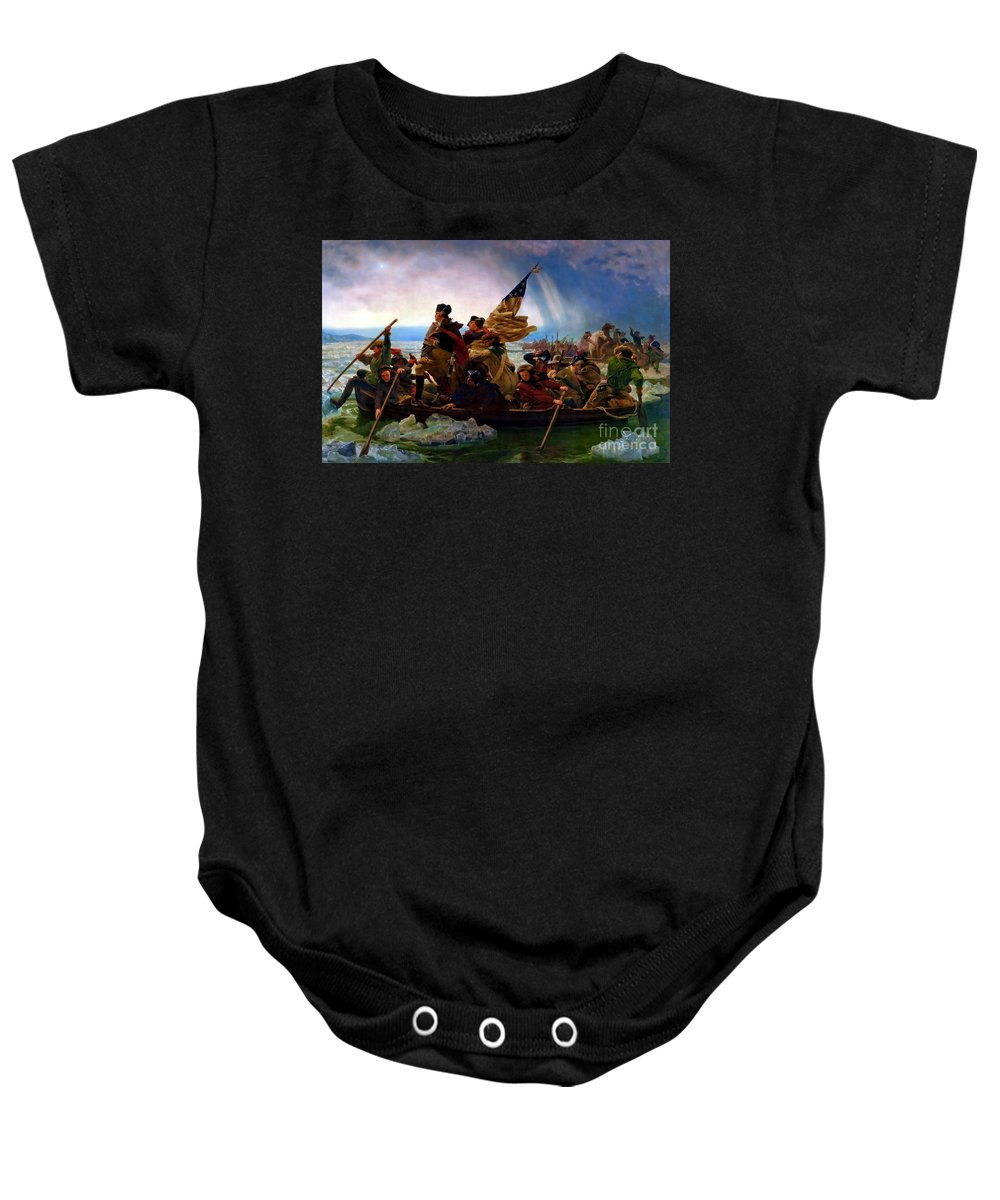 Washington Crossing The Delaware River Baby Onesie featuring the painting Washington Crossing The Delaware River by Doc Braham