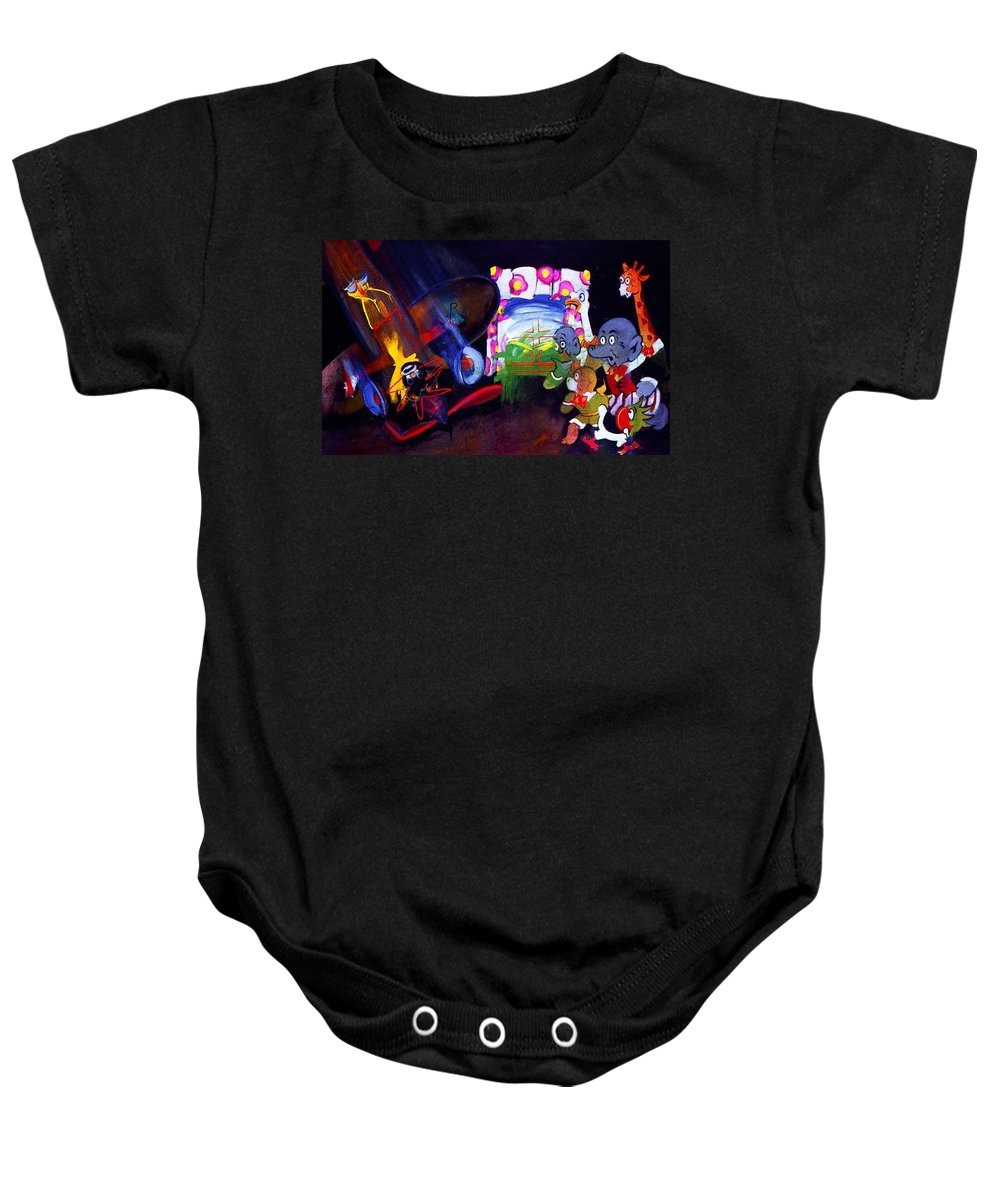 Cartoon Baby Onesie featuring the painting Watch With Mother by Charles Stuart