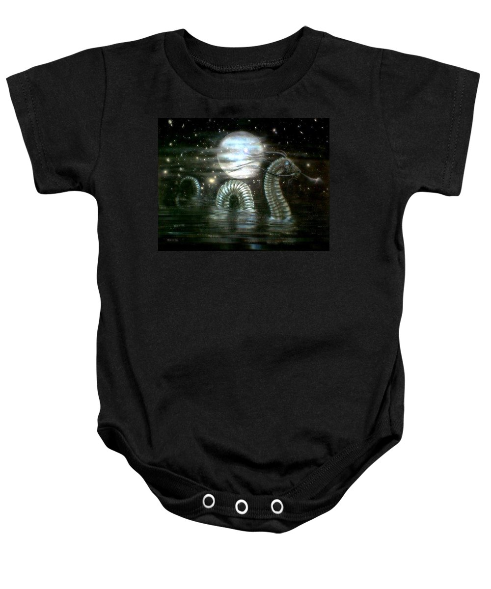 Baby Onesie featuring the drawing Water Dragon And Moon by Couture Yan-D
