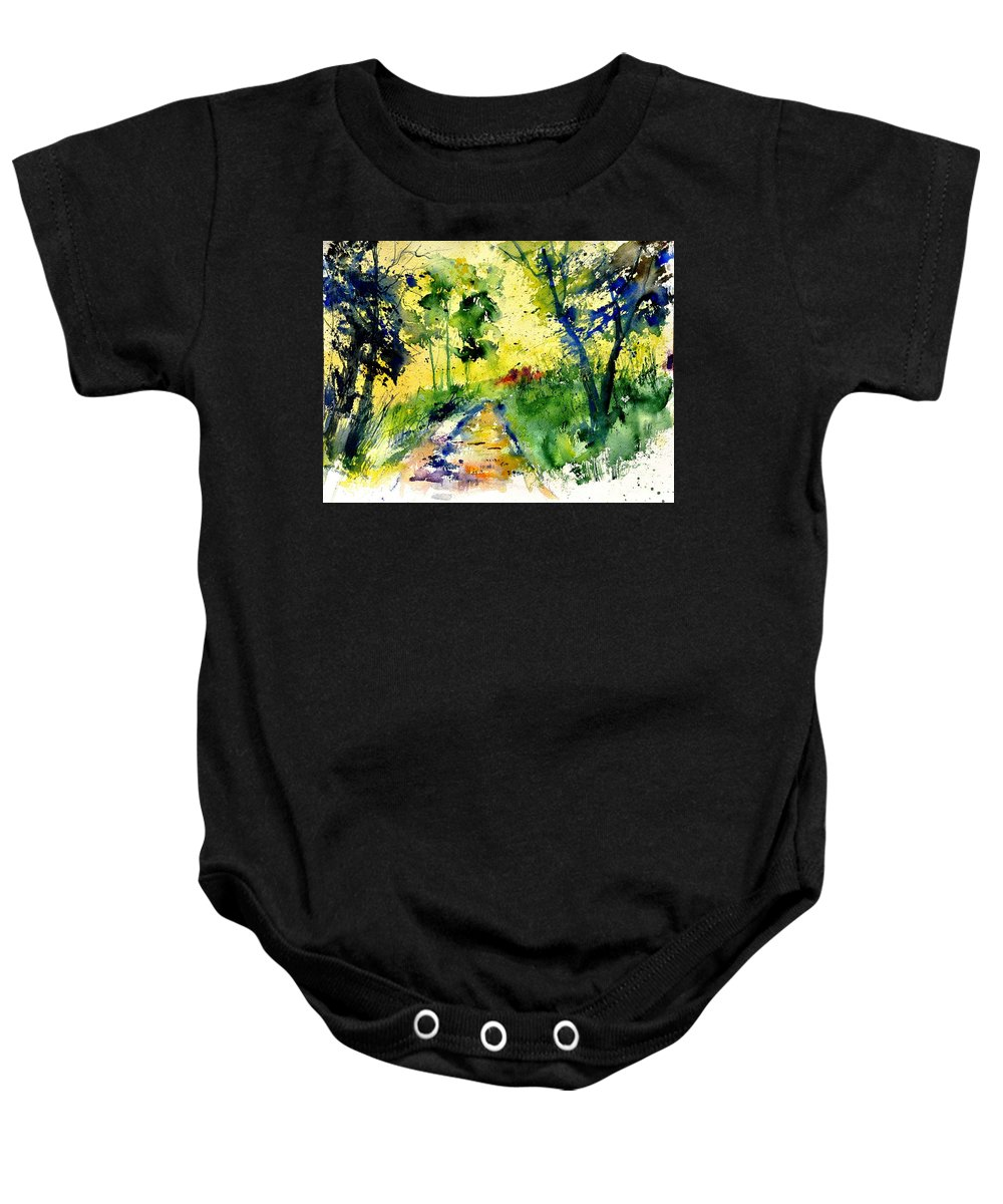 Landscape Baby Onesie featuring the painting Watercolor 318012 by Pol Ledent