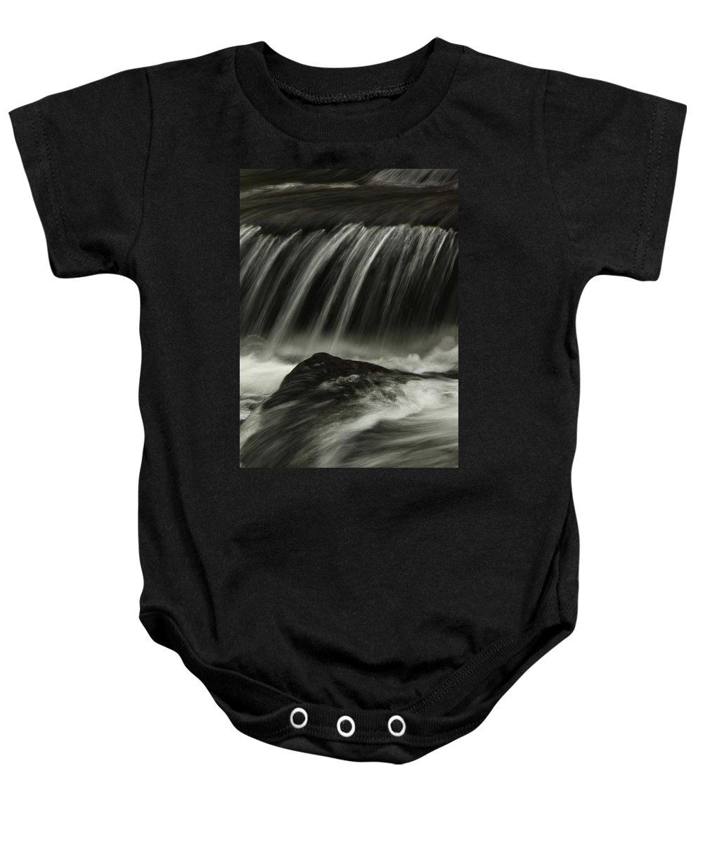 Waterfall Black And White Stone Water Close Up Macro Scenery Superb Landscape Nature Art Photography Ar Annahita Baby Onesie featuring the photograph Waterfall by AR Annahita