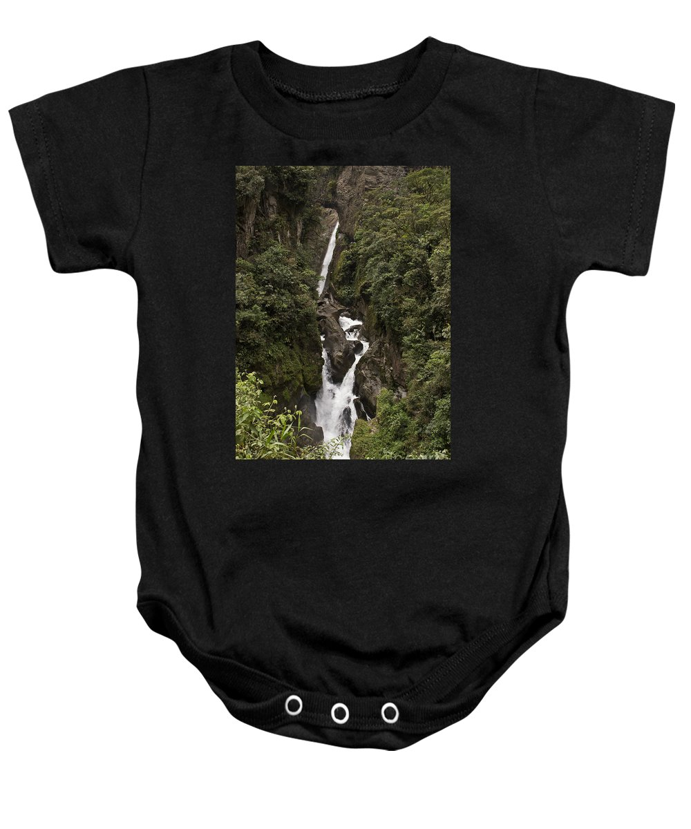 Waterfall Baby Onesie featuring the photograph Waterfall At Banos by Kathy McClure