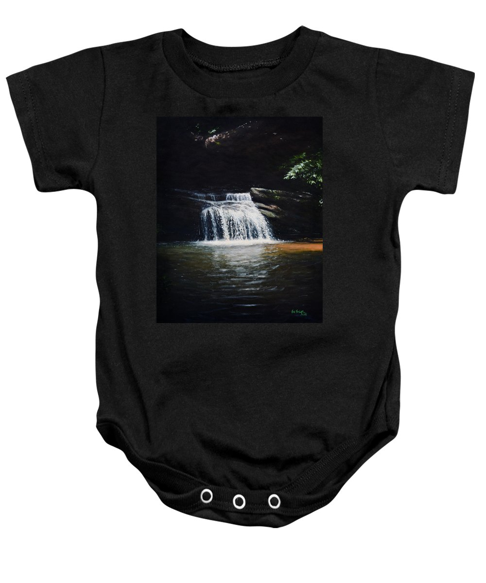 Landscape Baby Onesie featuring the painting Waterfall At Table Rock National Forest by Erik Schutzman