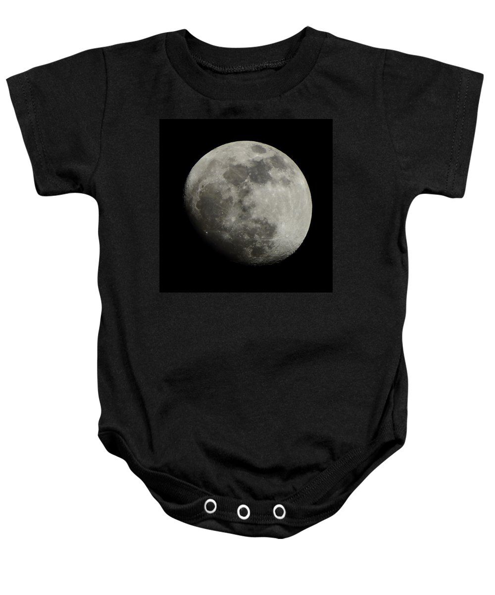 Moon Baby Onesie featuring the photograph Waxing Gibbous Moon by David G Paul
