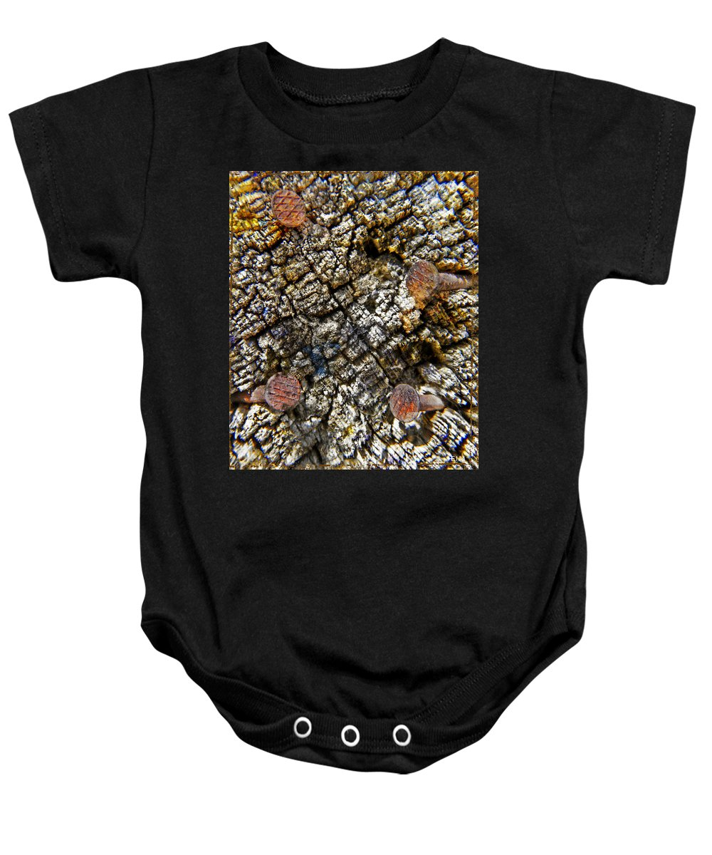 Horse Photographs Baby Onesie featuring the photograph Weathered by Mayhem Mediums