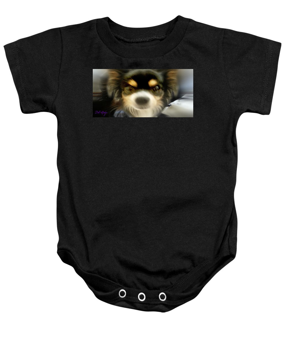 Kubrick Baby Onesie featuring the photograph Wedgiespace Odyssey Kubrick Face by Del Gaizo