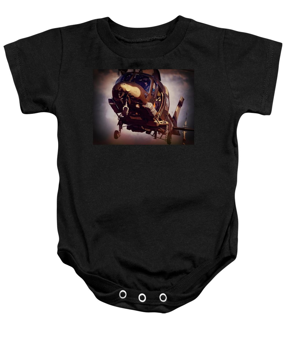 Agusta Westland A109 Luh Baby Onesie featuring the photograph Were To Land by Paul Job