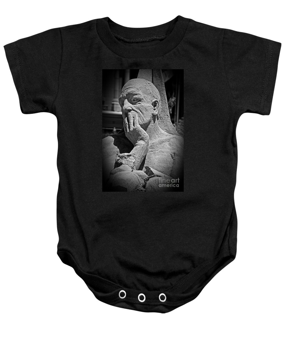 Statue Baby Onesie featuring the photograph What Have I Done by Tom Gari Gallery-Three-Photography