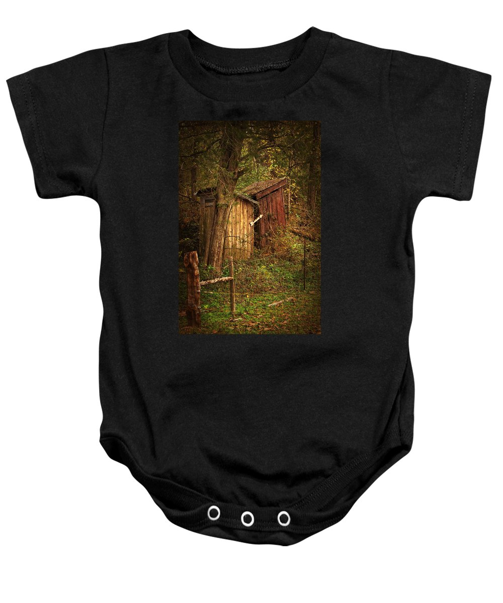 Outhouse Baby Onesie featuring the photograph Which Way To The Outhouse? by Priscilla Burgers