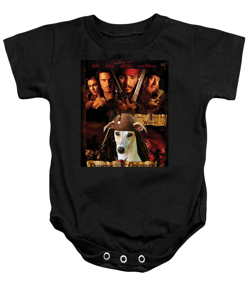 Whippet Baby Onesie featuring the painting Whippet Art - Pirates Of The Caribbean The Curse Of The Black Pearl Movie Poster by Sandra Sij