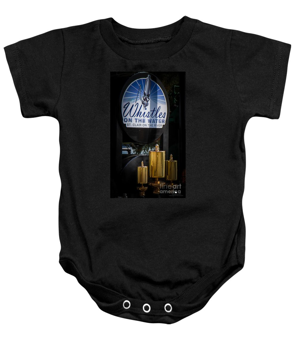 Whistles On The Water Baby Onesie featuring the photograph Whistles On The Water by Grace Grogan