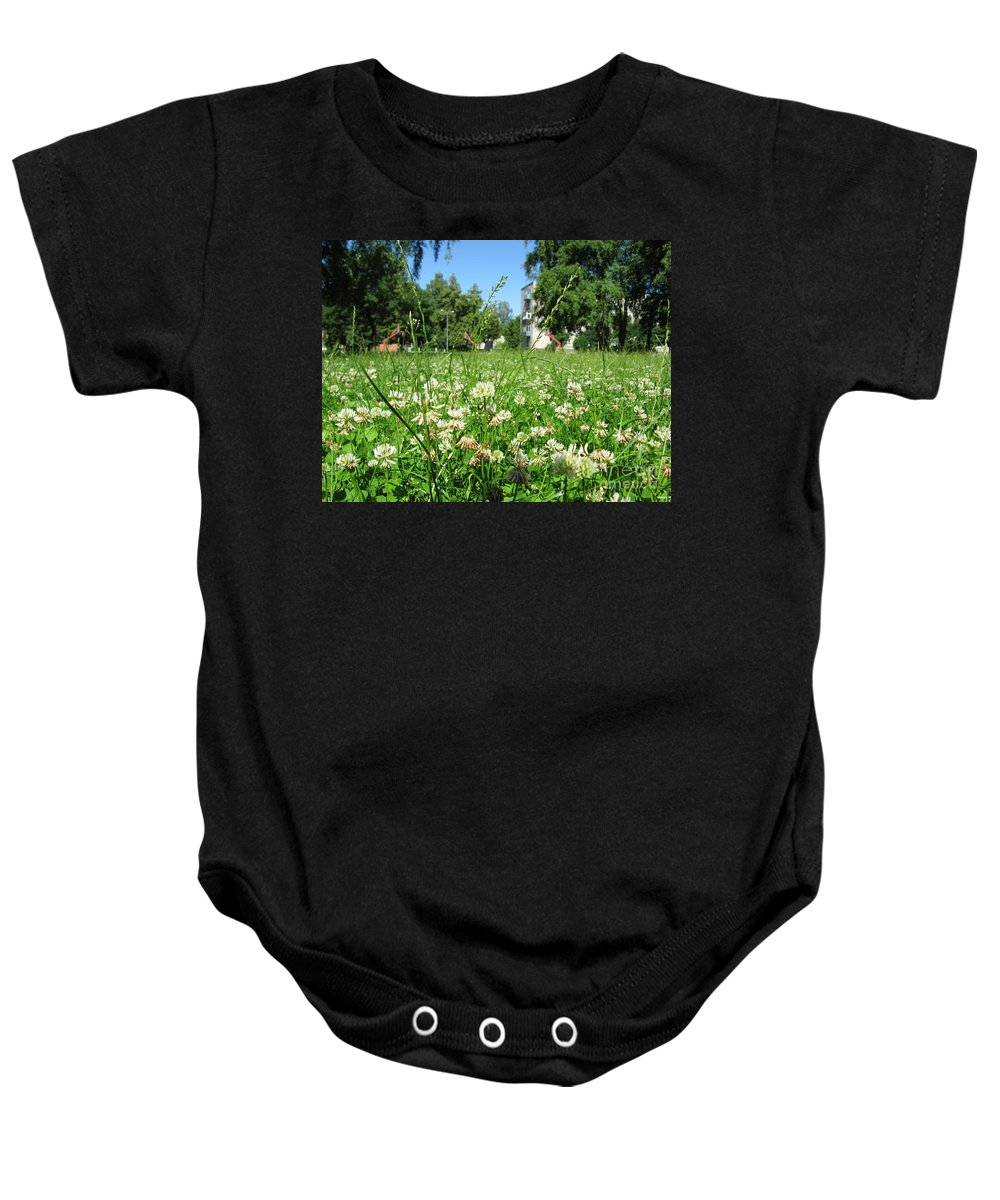 Landscape Baby Onesie featuring the photograph White Clover Field And The Playground by Ausra Huntington nee Paulauskaite
