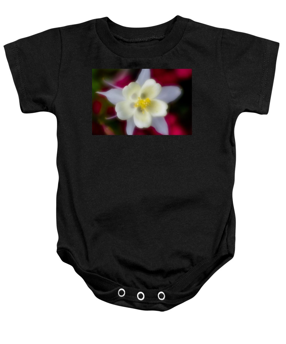 White Flower Baby Onesie featuring the photograph White Flower On Red Background by Greg Nyquist