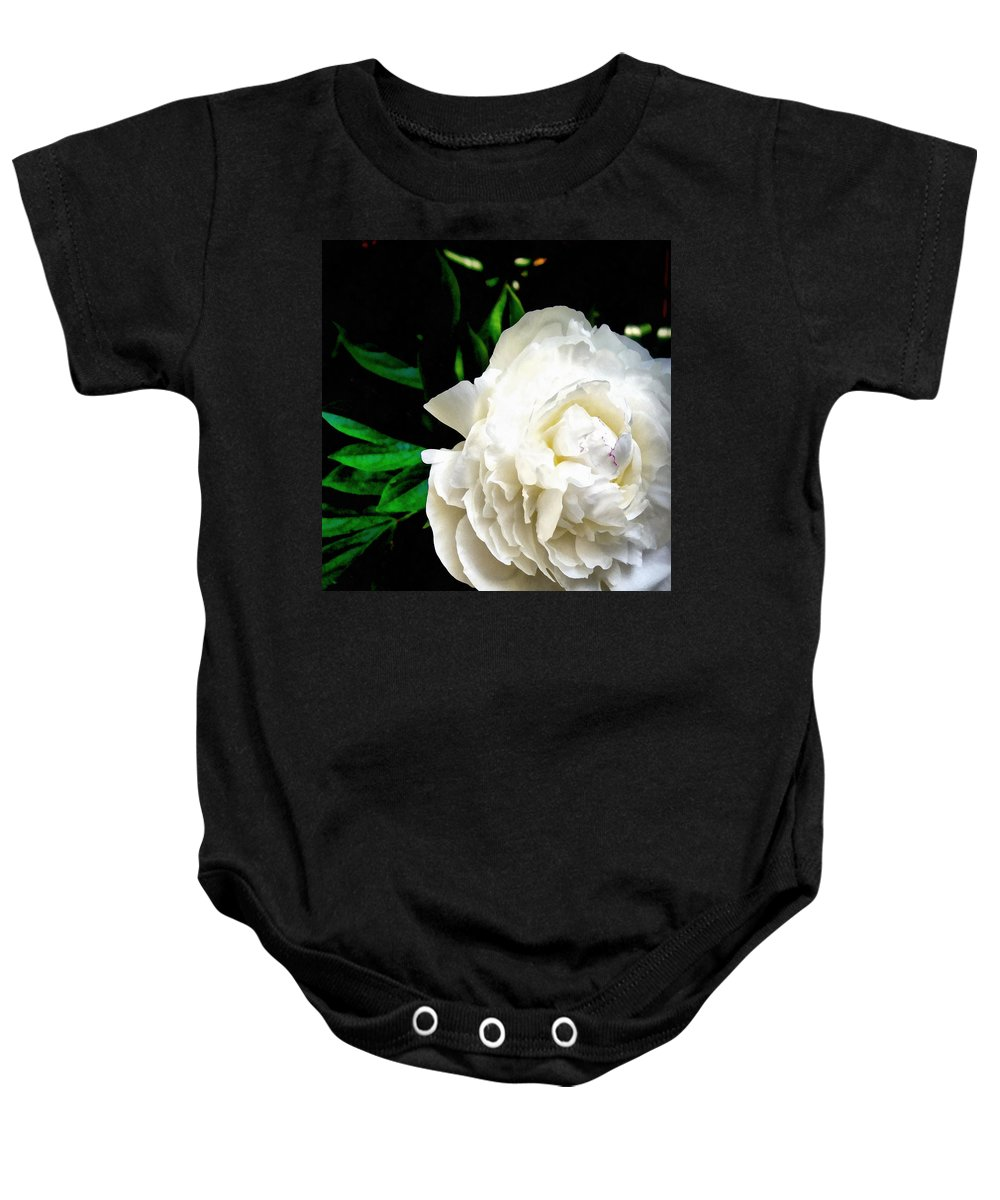 Peony Baby Onesie featuring the photograph White Peony by Michelle Calkins