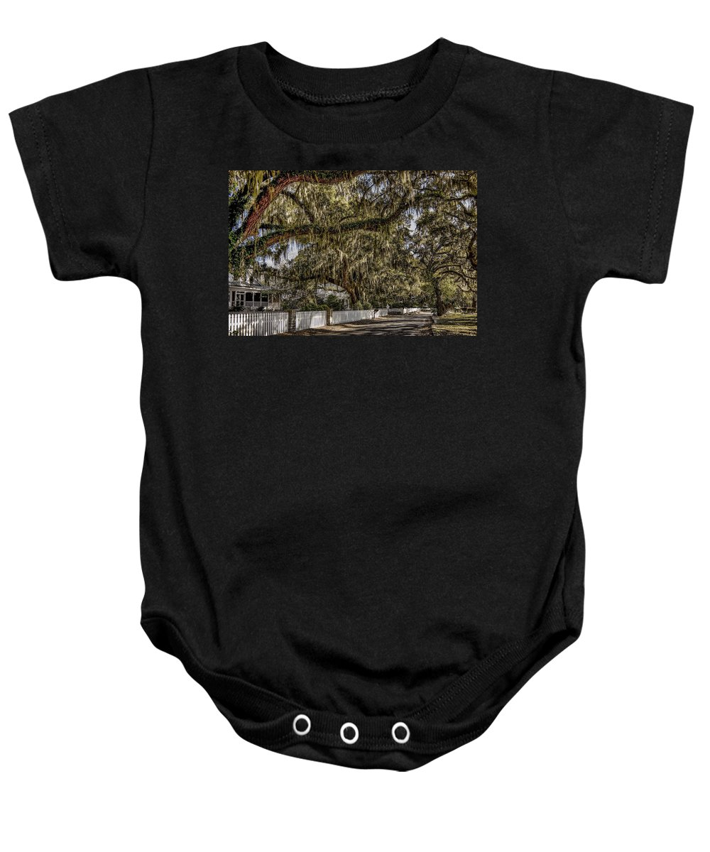 Tybee Island Baby Onesie featuring the photograph White Picket Fences by Diana Powell