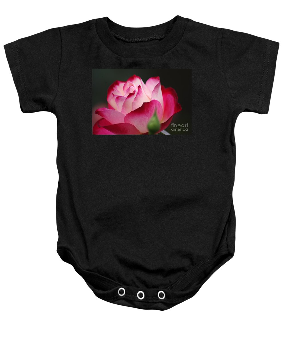 Rose Baby Onesie featuring the photograph White Red Rose 01 by J M Lister