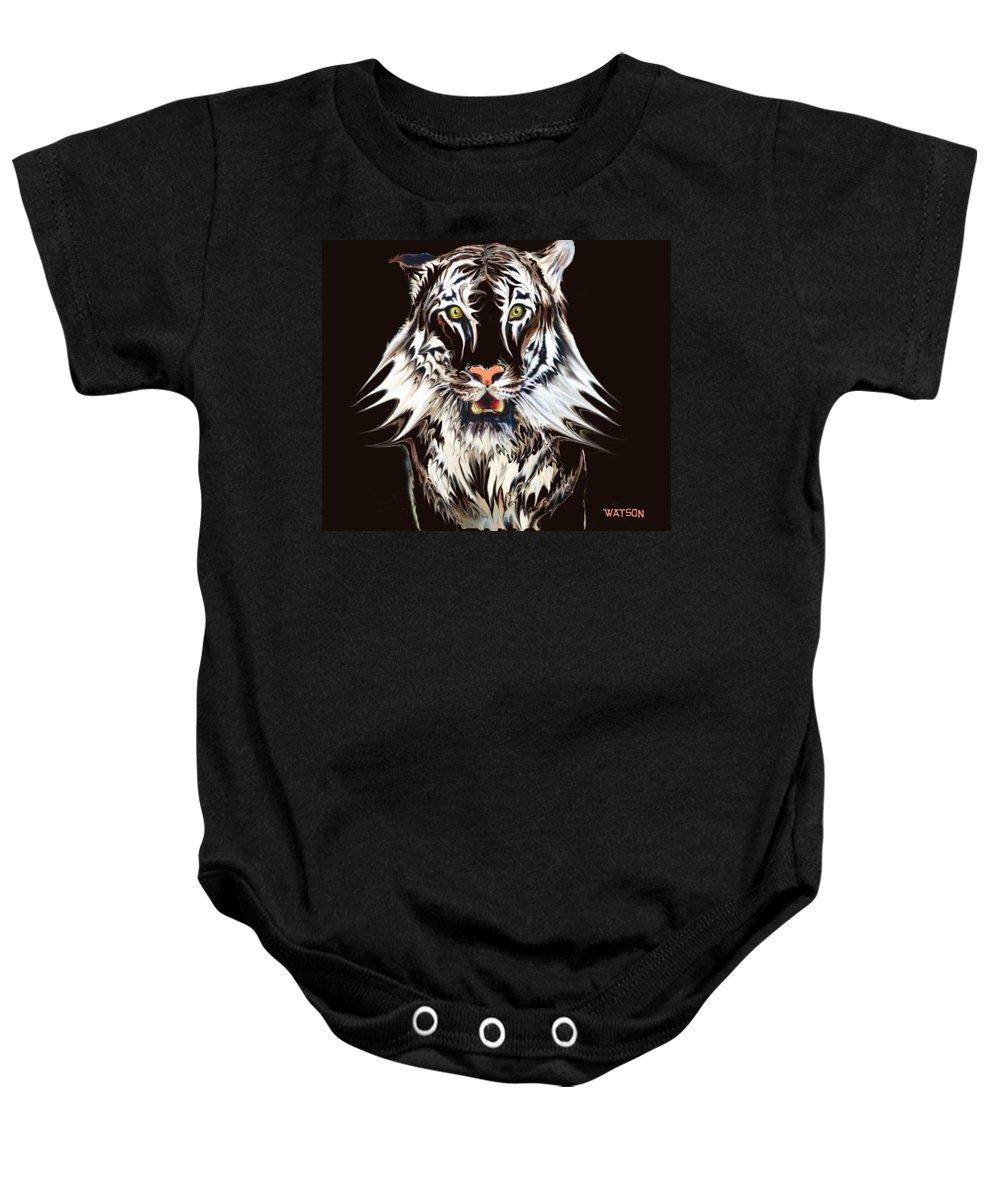 Illustration Baby Onesie featuring the digital art White Tiger 1 by Marlene Watson