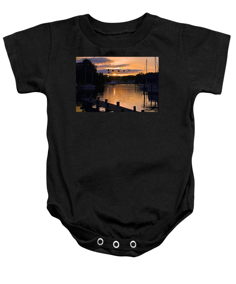 2d Baby Onesie featuring the photograph White's Cove Silhouette by Brian Wallace
