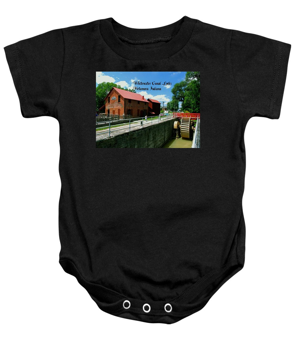 United Baby Onesie featuring the photograph Whitewater Canal Locks by Gary Wonning