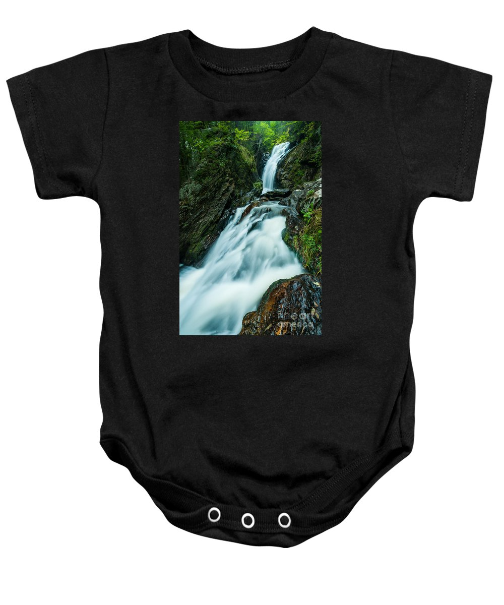 Brook Baby Onesie featuring the photograph Waterfall - Whiting Downrush by JG Coleman