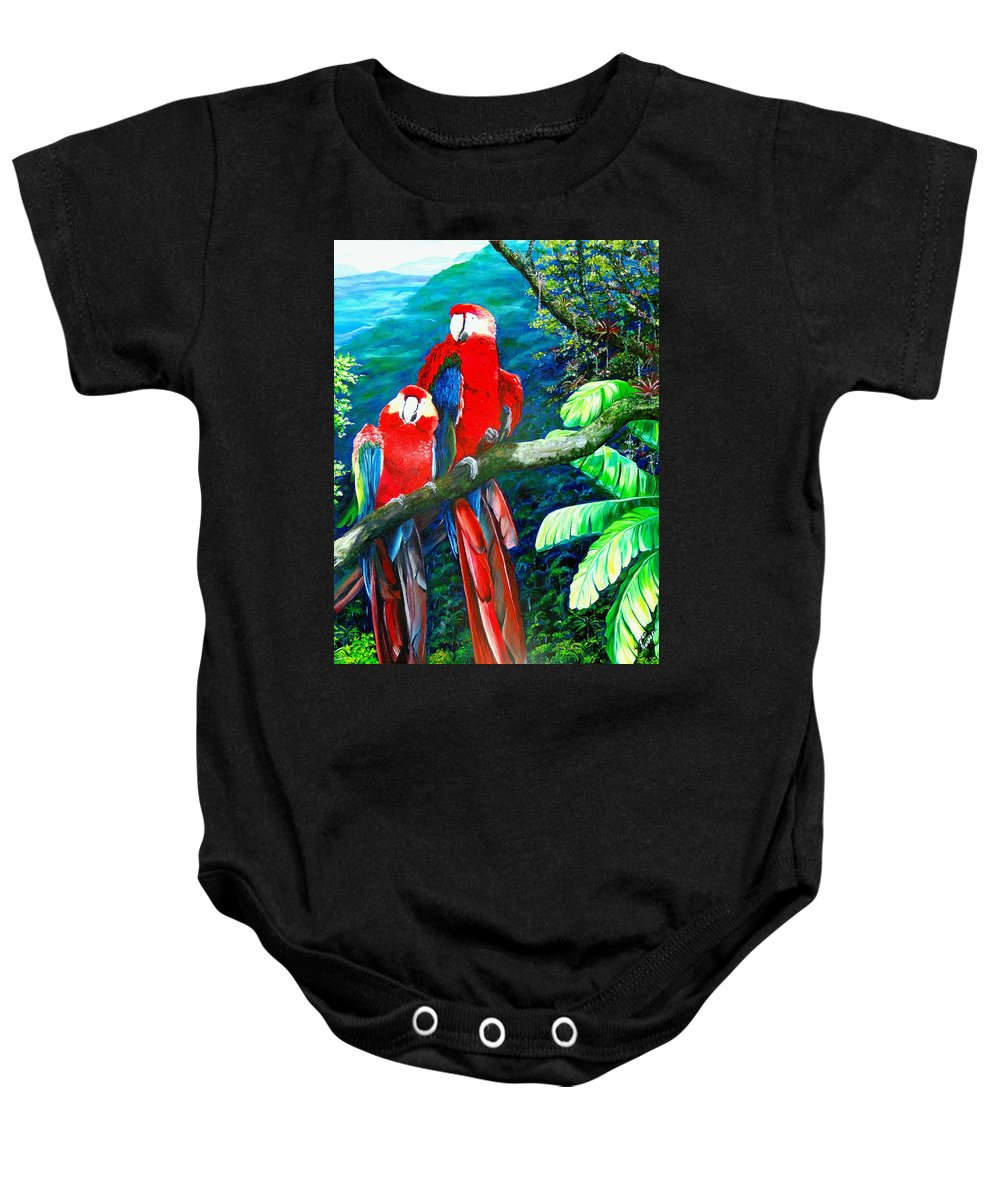 Caribbean Painting Green Wing Macaws Red Mountains Birds Trinidad And Tobago Birds Parrots Macaw Paintings Greeting Card  Baby Onesie featuring the painting Who Me  by Karin Dawn Kelshall- Best