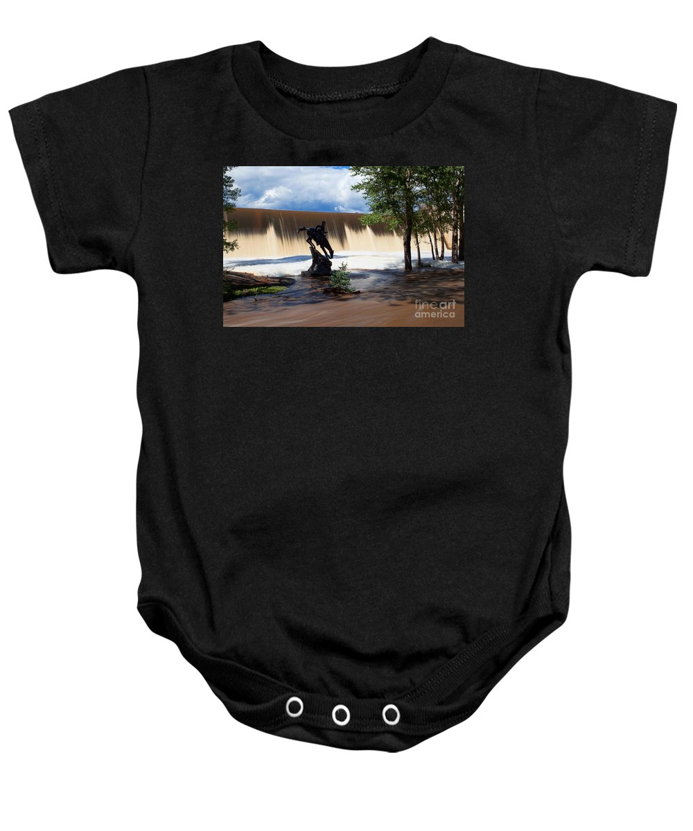 Evergreen Flood Print Baby Onesie featuring the photograph Who'll Stop The Rain by Jim Garrison