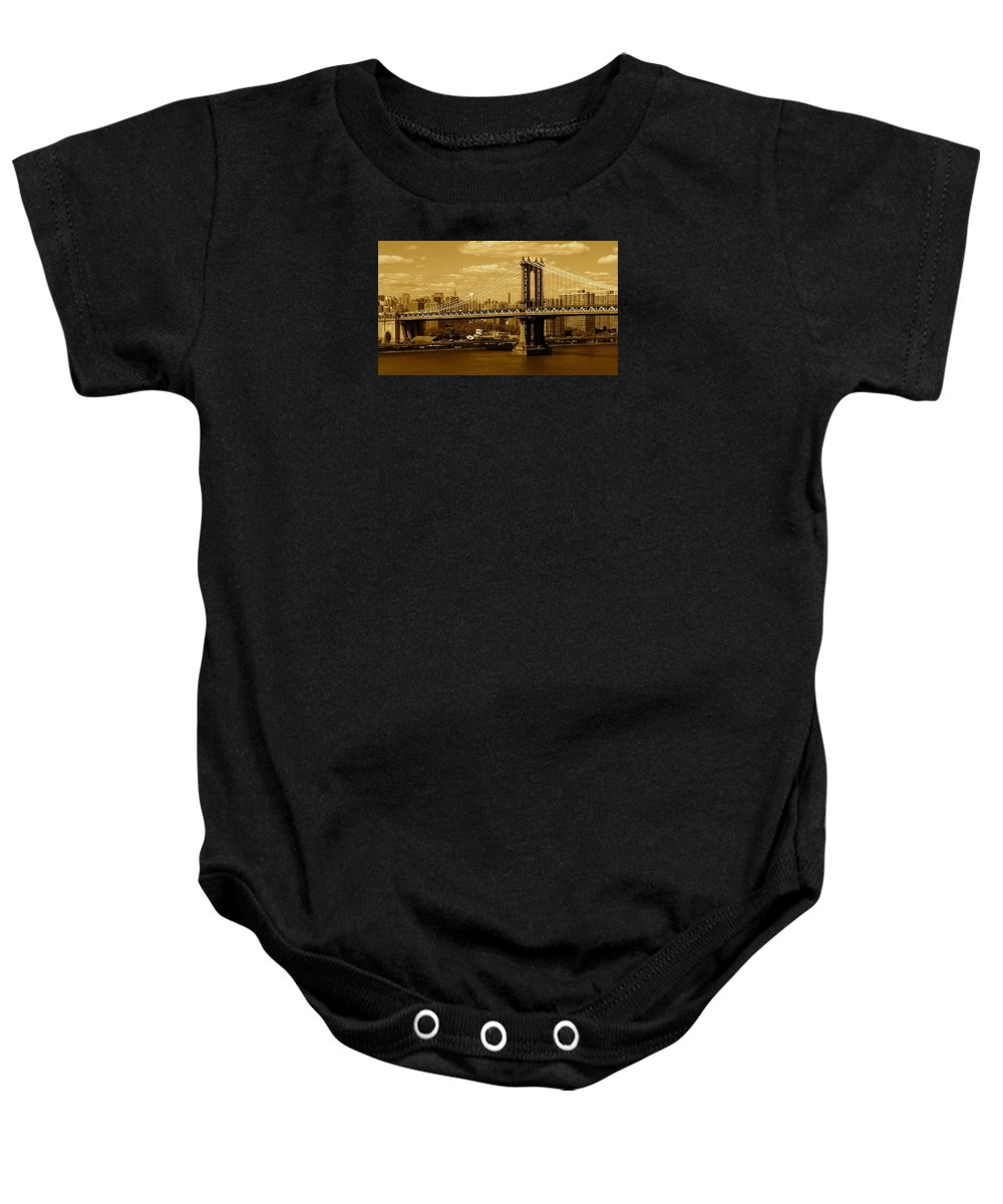 Iphone 5 Cover Cases Baby Onesie featuring the photograph Williamsburg Bridge New York City by Monique's Fine Art