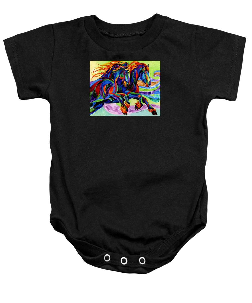 Horse Baby Onesie featuring the painting Wind Dancers by Sherry Shipley
