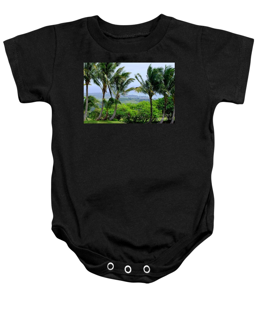 Wind Baby Onesie featuring the photograph Wind Over Kalaheo by Mary Deal