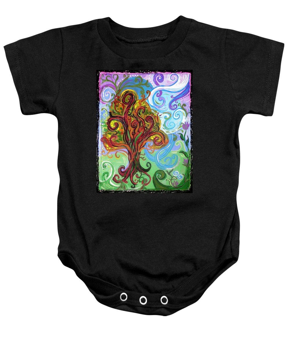 Tree Baby Onesie featuring the painting Winding Tree by Genevieve Esson