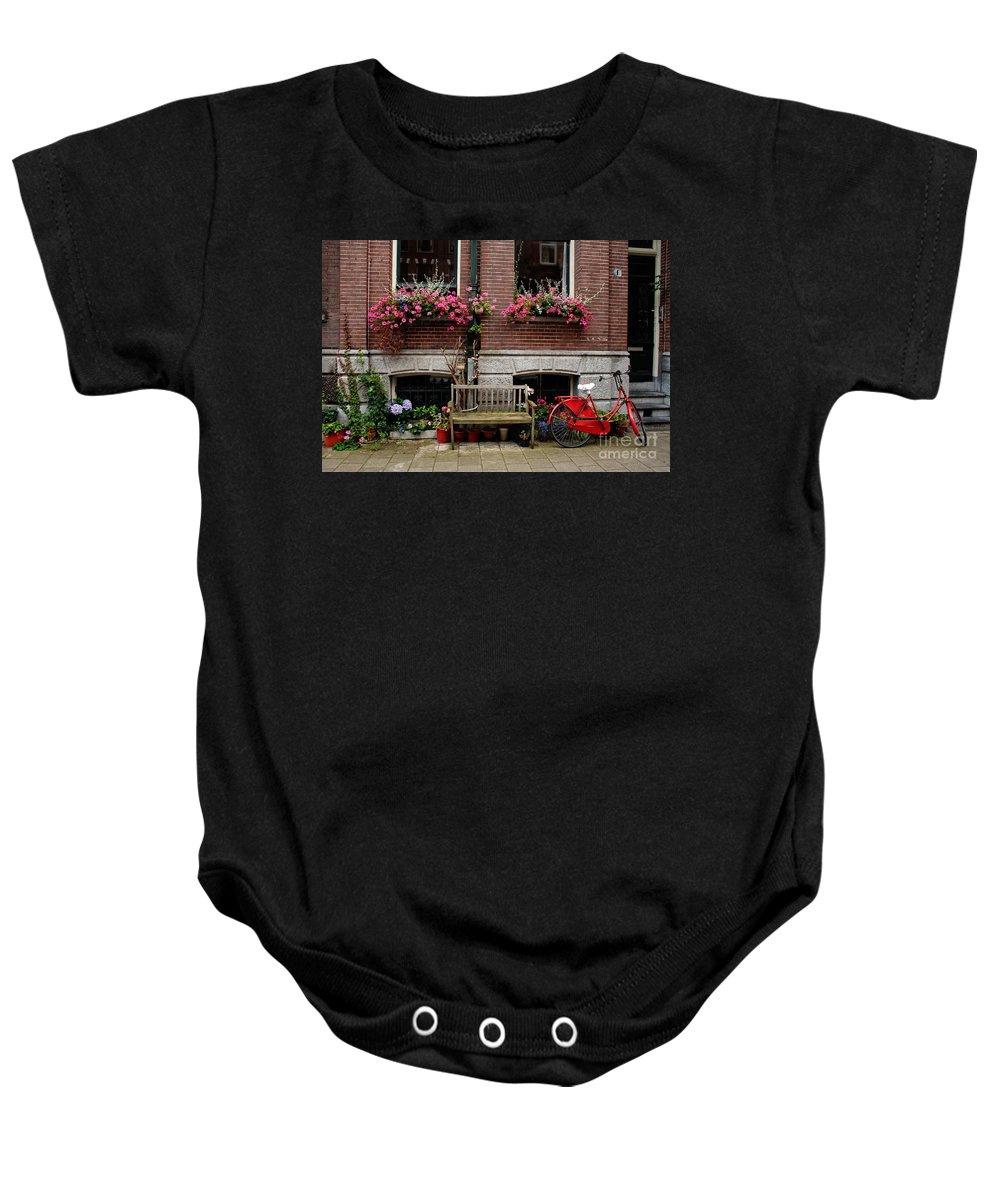 Amsterdam Baby Onesie featuring the photograph Window Box Bicycle And Bench -- Amsterdam by Thomas Marchessault