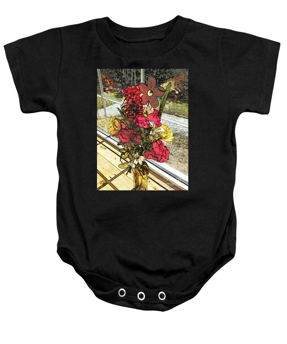 Window Bouquet Baby Onesie featuring the photograph Window Flowers by Luther Fine Art