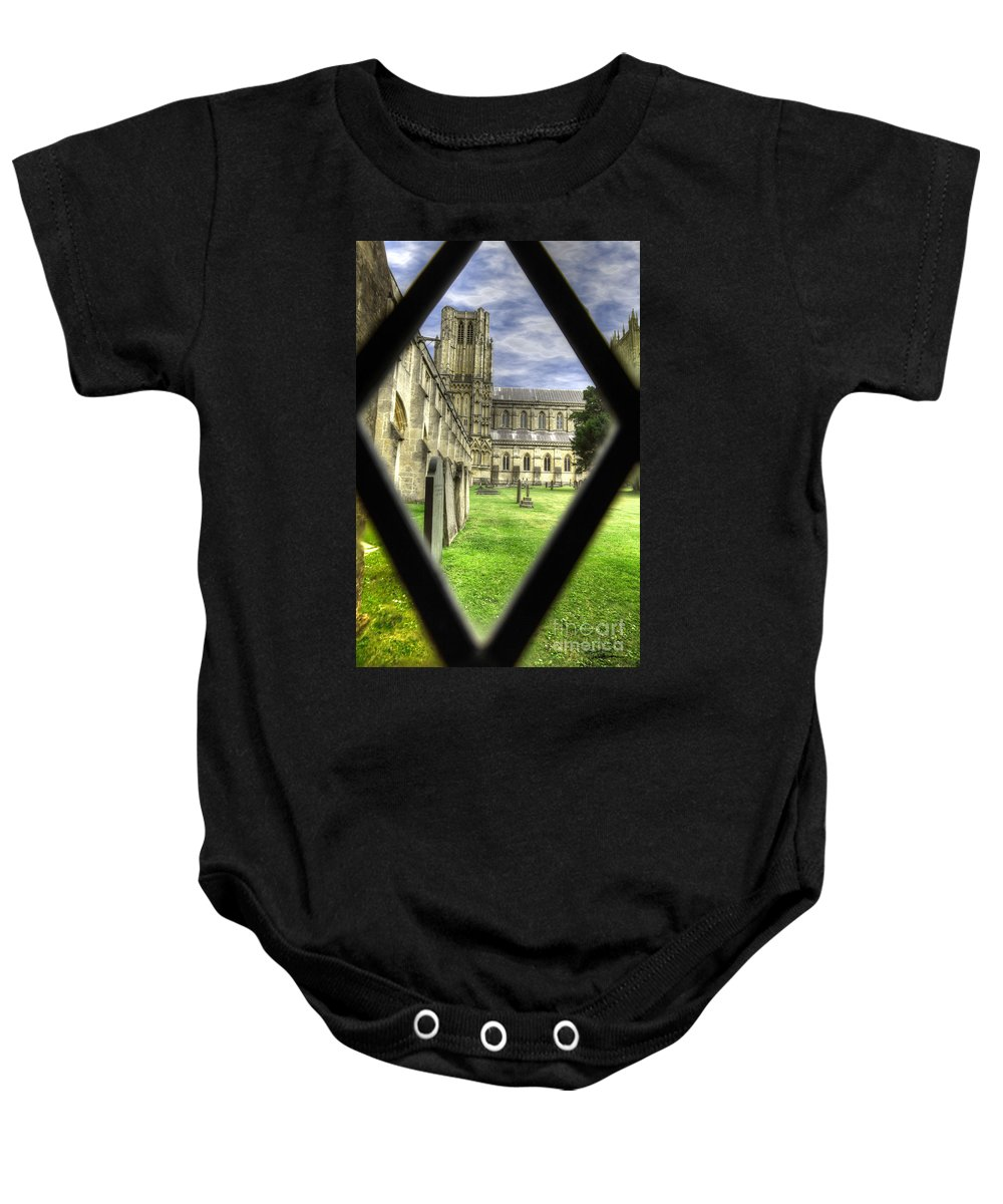 Cathedral Baby Onesie featuring the photograph Window To The Past by Traci Law